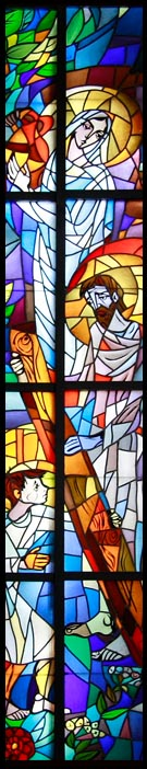 św Rodzina - witraż z kościoła ss.Nazaretanek