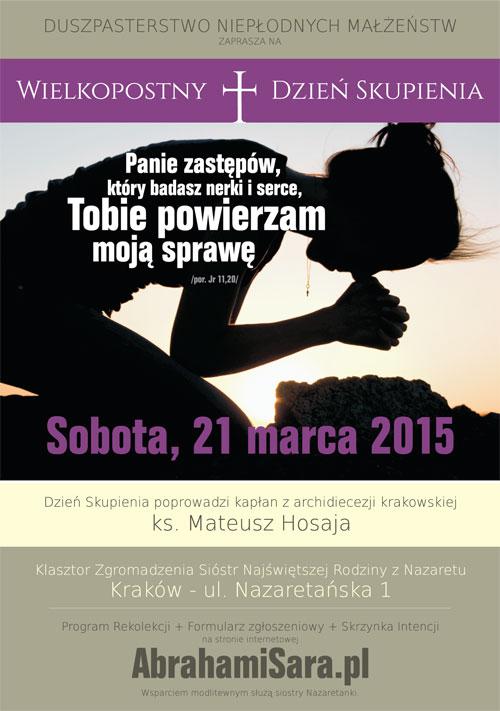 plakat Wielkopostny Dzień Skupienia Kraków 2015