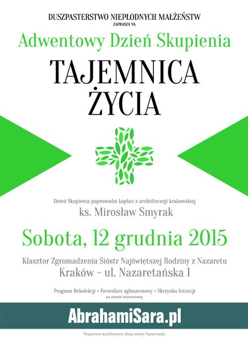 plakat Adwentowy Dzień Skupienia Kraków 2015
